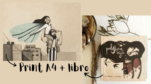 "Iris Serrano's A4 Print ""Flying girl"" + Book Palestina tiene nombre de mujer"