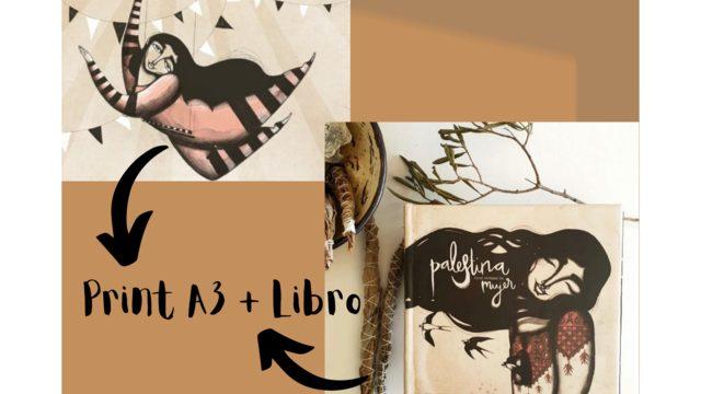 Print A3 'The trapeze artist' by Iris Serrano + Book 'Palestine has a woman's name'