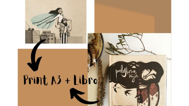 Print A3 'Flying girl' by Iris Serrano + Book 'Palestine has a woman's name'