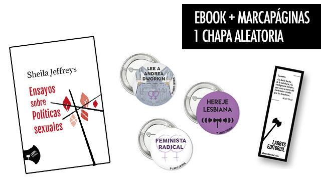 """Ebook """"Ensayos sobre políticas sexuales"""", 1 chapa y 1 marcapáginas"""