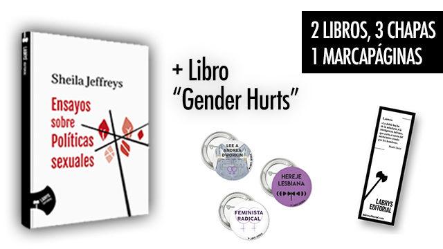 """Libro """"Ensayos sobre políticas sexuales"""", """"Gender Hurts"""" y 3 chapas"""