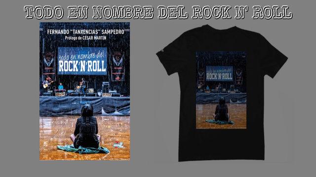 """1 Libro """"TODO EN NOMBRE DEL ROCK'N'ROLL"""" firmado y con dedicatoria personalizada  + 1 Camiseta Exclusiva con la foto de portada; talla a convenir + 1 Poster con la foto de portada a tamaño Din A3"""