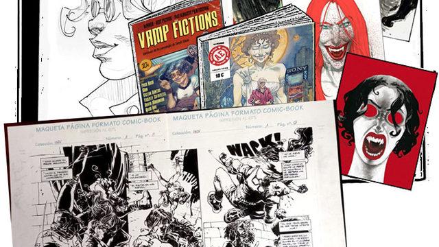 Cómic dedicado + agradecimiento + Vamp Fictions + 4 láminas + Página DOBLE original El Baile del Vampiro