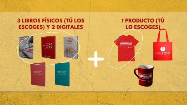 3 libros físicos + 2 libros digitales + 1 producto