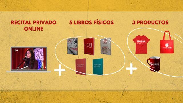 Recital privado online + 5 libros físicos + Camiseta + Bolsa + Taza