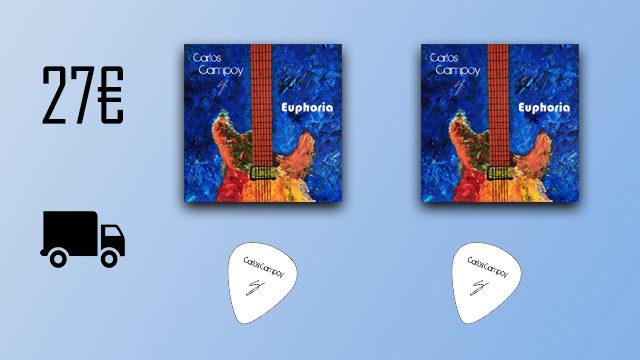 """2 discos """"Euphoria"""" de Carlos Campoy + 2 púas signature"""