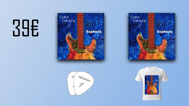 """2 discos """"Euphoria"""" de Carlos Campoy + 2 púas signature + camiseta"""