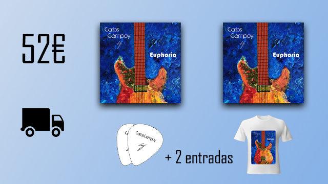 """2 discos """"Euphoria"""" de Carlos Campoy + 2 púas signature + camiseta + 2 entradas"""
