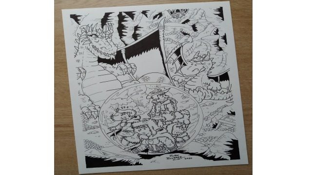 Dibujo original a tinta - Lámina dragones