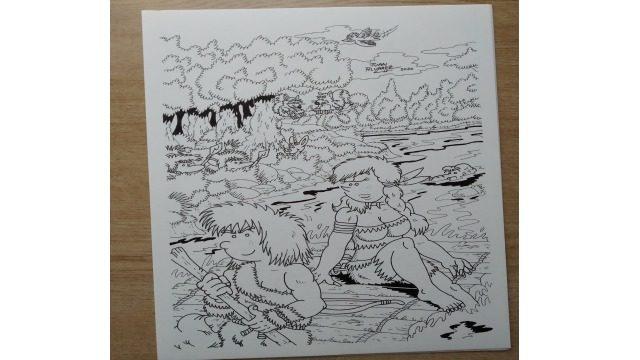 Dibujo original a tinta - Lámina de Thurk y Shonna