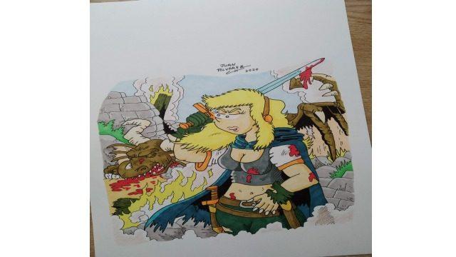 Dibujo original a color  - Jenna y dragón