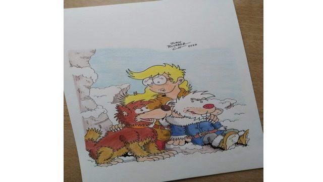 Dibujo original a color - Rachel, Sombra y Ralph