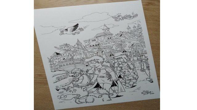 Dibujo original a tinta - Lámina del puerto de Durn