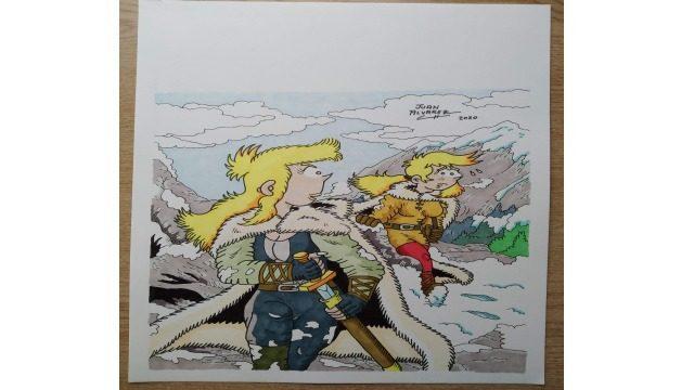 Dibujo original a color - Jenna y Rachel