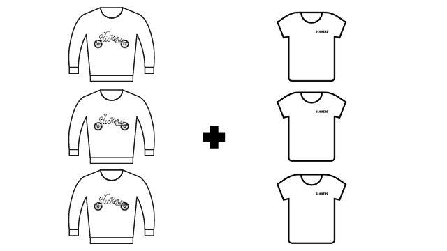 Pack 3 sudaderas + 3 camisetas colección KM 0