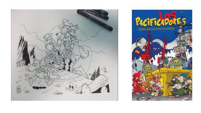 Dibujo original Fenris 2 por Mudito Rubén + Cómic Los Pacificadores