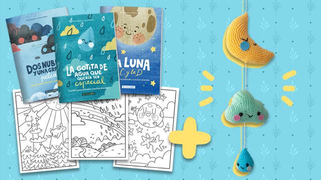 Pack de 3 cuentos impresos en castellano + láminas + atrapasueños + audiolibros