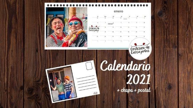 Calendario solidario + Chapa + Postal