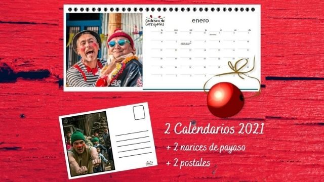 2 calendarios + 2 narices de payaso + 2 postales