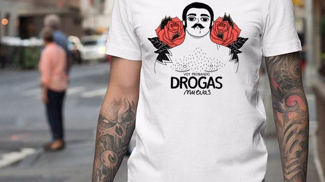 Camiseta diseñada por Jupi Trupi 'Drogas nuevas'