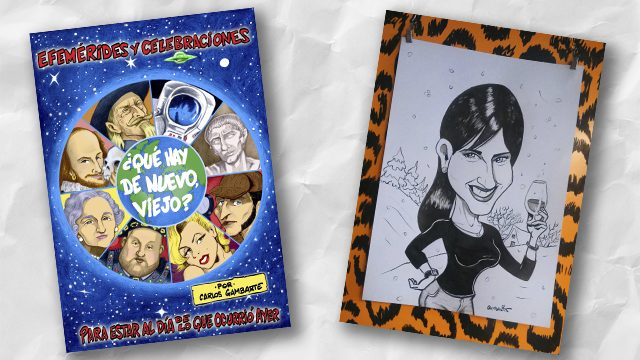 Libro impreso + caricatura (B/N)