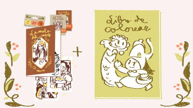 Pack con libro de colorear y dedicatoria con dibujo