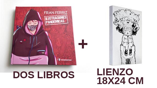 Dos libros y un lienzo pequeño a tinta dibujado a mano