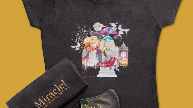 Mascarilla de protección (lavable) + camiseta con el boceto de la falla