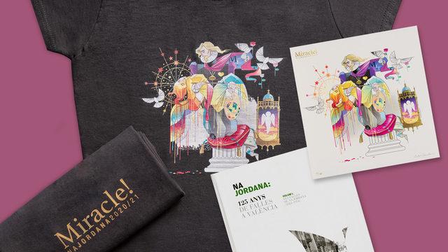 Camiseta con el boceto de la falla + Litografía con el boceto de la falla numerada y firmada por el diseñador + libro 'Na Jordana, 125 anys de falles a València'