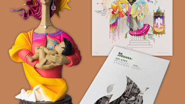 Litografía con el boceto de la falla numerada y firmada por el diseñador + Libro 'Na Jordana, 125 anys de falles a València' + Reproducción en miniatura 'Mare Lactans'