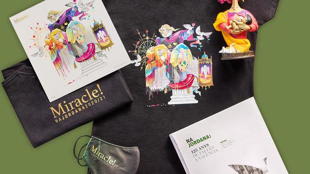 Camiseta con el boceto de la falla + Litografía con el boceto de la falla numerada y firmada por el diseñador + Libro 'Na Jordana, 125 anys de falles a València' + Reproducción en miniatura 'Mare Lactans'