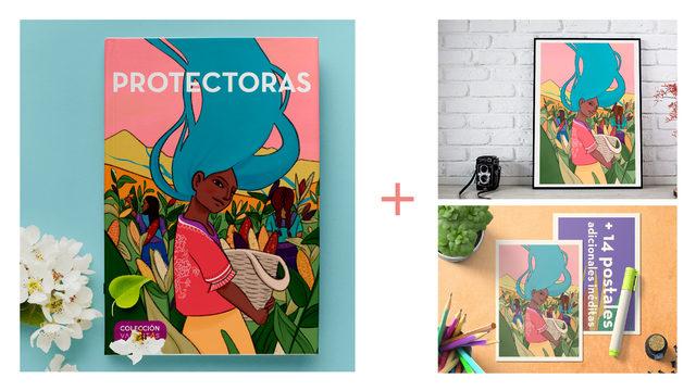 Cuento PROTECTORAS en edición física con tapa dura + Pack de 15 postales de sus ilustraciones + Lámina a escoger entre ellas