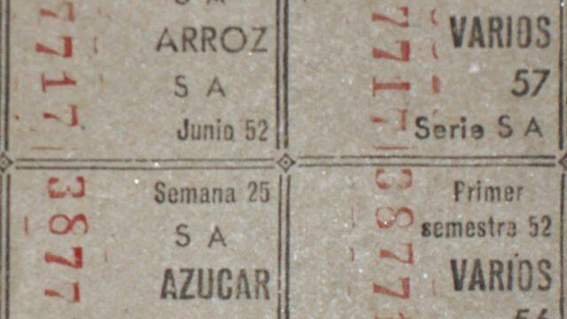 Cuatro sellos de la cartilla de racionamiento