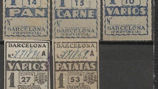 Cinco sellos de la cartilla de racionamiento