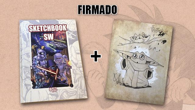 SketchBook SW Firmado + Original Similar de *Baby Yoda* **ESPECIAL SW Papa Noel**