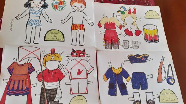 3- Pack de 9 vestits retallables de les colles de Badalona i els seus ninos.