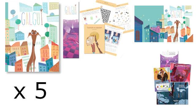 Compañía: Libro con marcapáginas, Cuadernito Actividades, Fondo de Escritorio, Colección postales, x5