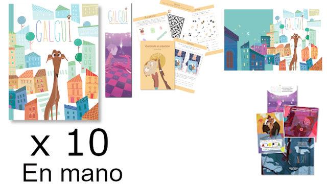 Pack en mano para Librerías, Bibliotecas, Empresas…: Libro con marcapáginas, Cuadernito Actividades, Fondo de Escritorio, Colección postales, x10