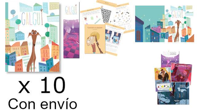 Pack envío para Librerías, Bibliotecas, Empresas…: Libro con marcapáginas, Cuadernito Actividades, Fondo de Escritorio, Colección postales, x10