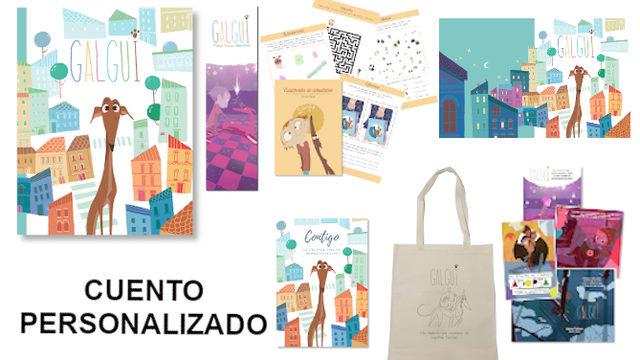 Personalizado: Libro con marcapáginas, Cuadernito Actividades, Fondo de Escritorio, 4 postales, Cuaderno hojas blancas, Bolsa termosellada ycuento personalizado.