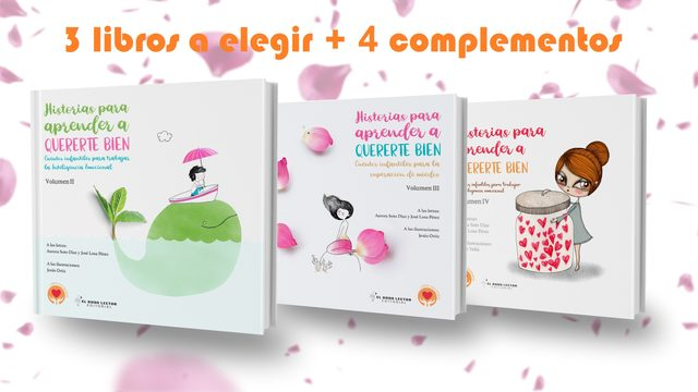 3 libros  + 4 complementos (libretas o cuadernos de dibujo) + dedicatoria + recursos educativos + envío con seguimiento a correos + poster