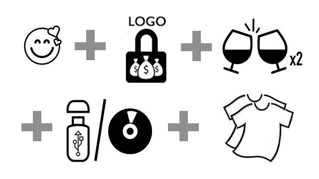 Pack Mecenas Ilustre (LOGO), brindis y camisetas