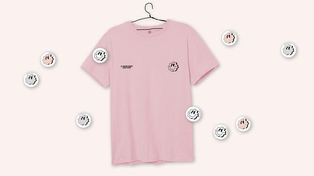 Camiseta rosa smiley