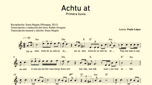 Transcription of a song in Nahuat