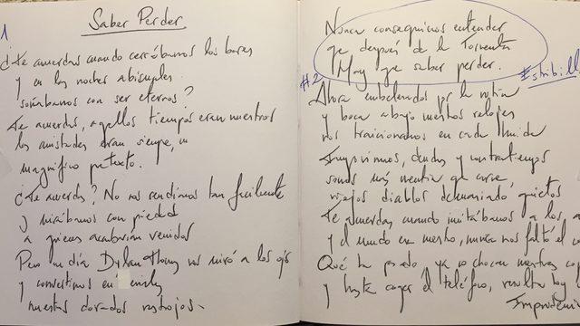 Dibujo o letra manuscrita dedicada