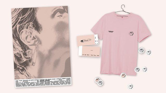 """Invitación pase privado y merchandising """"Camiseta rosa smiley"""""""