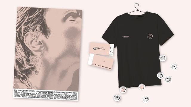 """Invitación pase privado y merchandising """"Camiseta negra smiley"""""""