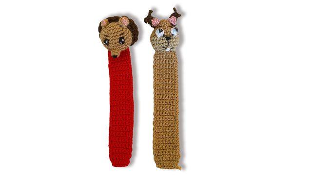 Marcapáginas en crochet de Púas y Canela