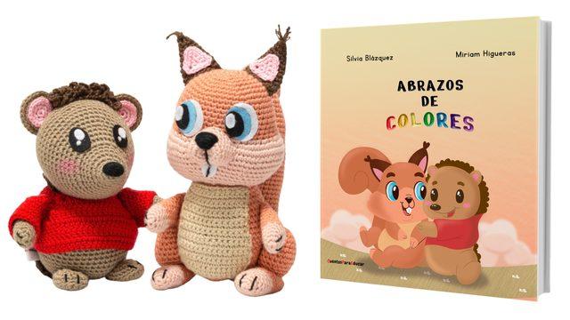 """Pack cuento """"Abrazos de colores"""" + muñecos amigurumi"""