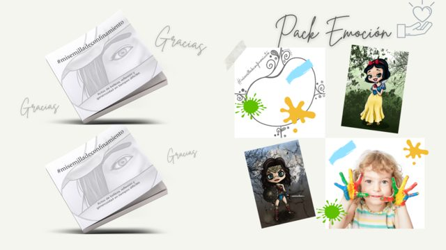 Pack EMOCIÓN: 2 Libros + Agradecimientos + Print caricatura personalizada + Taller creativo online +  Creación y publicación de tu nueva semilla + Aportación solidaria